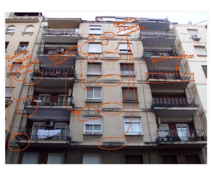 Reparación de fachada.  Anotaciones sobre foto
