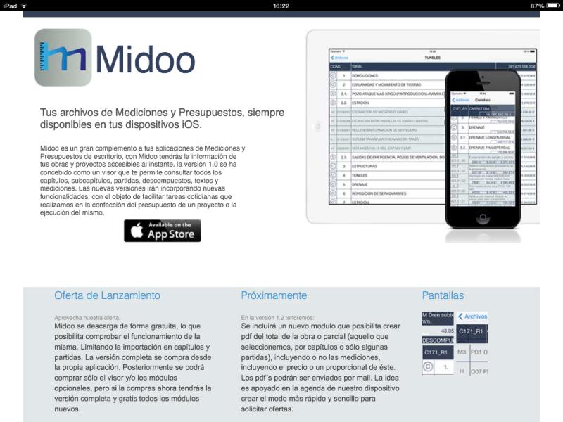 Apps de Construcción.  Vista de la web de Midoo
