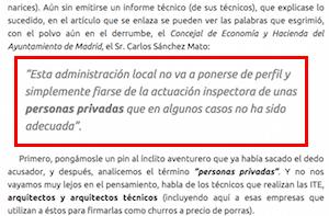 Comentarios ayutamiento de Madrid Inspección técnica de edificios ITE