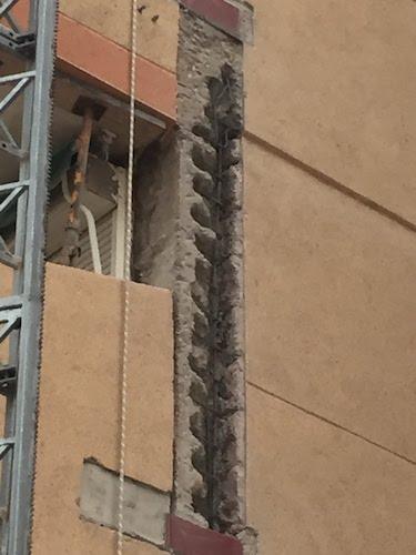 Reparación de estructura de hormigón, picado de pilares de hormigón