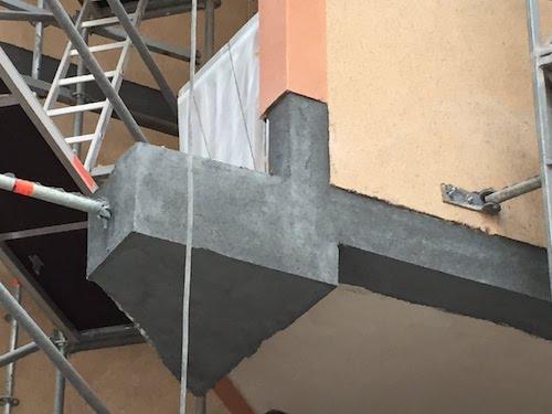 Reparación de estructura de hormigón, mortero de reparación aplicado