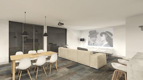 Vivienda unifamiliar construida con ISO Containers en Picassent | Vista interior